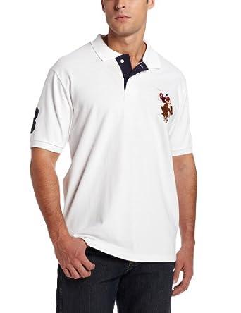 U.S. Polo Assn. Men's Short Sleeve Pique Polo with Multi-Color Pony Logo, White, Small