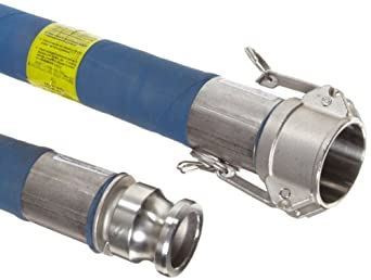 Goodyear EP Hi-Per Blue FEP Chemical Hose Assembly, Stainless Steel 316 Cam And Groove Couplings, 200 PSI Max Pressure