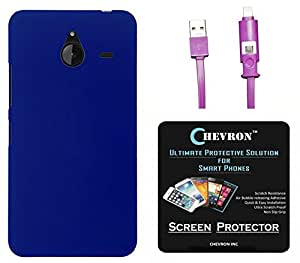 Chevron Rubberized Matte Finish Back Cover Case for Microsoft Lumia 640 XL with HD Screen Guard & 2 In 1 Data Cable (Micro USB & Lighting) (Royal Blue)