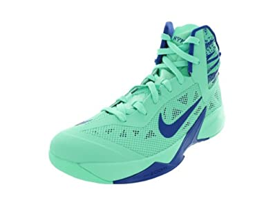 Mens Nike Zoom Hyperfuse Basketball Shoe Green Glow/Game Royal Size 11.5