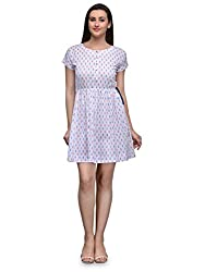 WHITE IKAT PATTERN PRINT SHORT DRESS WITH DRAW STRING BELTS AND BUTTON