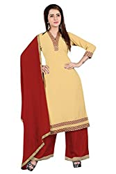 BanoRani Womens Beige & Maroon Color Faux Georgette & Jacquard Straight Fit With Lace Work Unstitched Salwar Suit Dress Material (Plazzo)