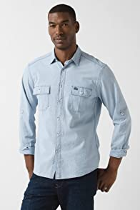 Chambray Roll Up Cuff Woven Shirt