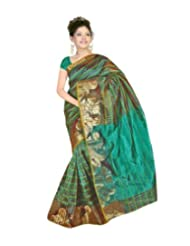 Nirvaan Supernet Multi Checks Saree with Zari Skart Border(Green)