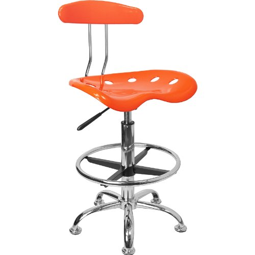 LF-215-ORANGEYELLOW-GG Vibrant Orange and Chrome Drafting Stool with Tractor 300730