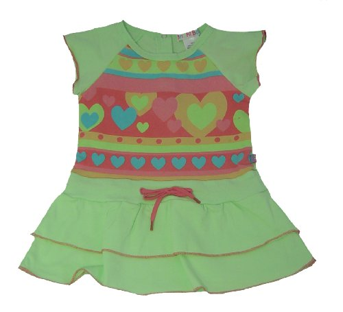 Bright Bots Baby Girl Scooter Story Dress in Soft Cotton Jersey colour Lime in size 12-18 months