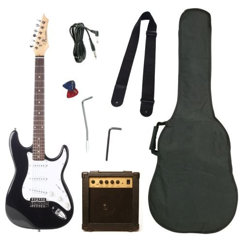 Barcelona Black Electric Guitar Package with 10 Watt Amp - Beginner Kit