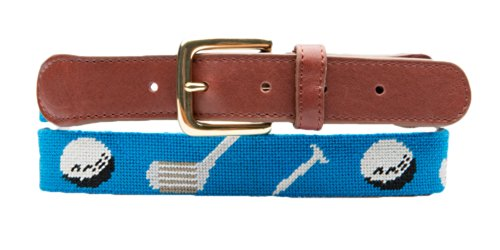 Needlepoint Belt - Caddyshack Blue With Brass Buckle - Belts For Preppy Clothes (36) front-30339