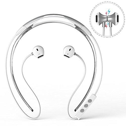 Bluetooth-KopfhrerDylan-Bluetooth-41-Drahtlose-Sport-Stereo-In-Ear-Noise-Cancelling-Kopfhrer-Nackenbgel-Design-Extra-Bass-CVC-60Schweiresistent-Magnetische-Headset-Wei