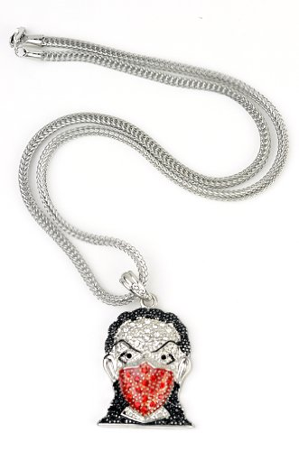 "Iced Out Silver/Red Tone Ninja Mask Pendant 3mm 22.5"" Franco Chain HC4064RRD"