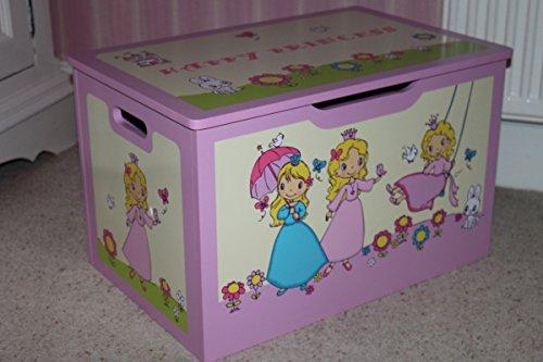 Grand coffre à jouets Happy Princess pour enfants, en bois - Sérigraphie brevetée