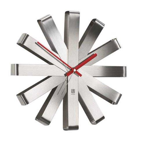 Umbra Ribbon Brushed Steel Wall Clock, 12