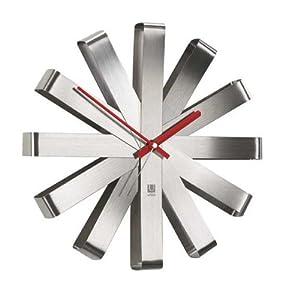 Umbra Ribbon Brushed Steel Wall Clock 12 Nickel Amazon