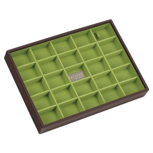 Stackers Jewellery Box | Classic Chocolate Brown & Bright Green Criss Cross Stacker