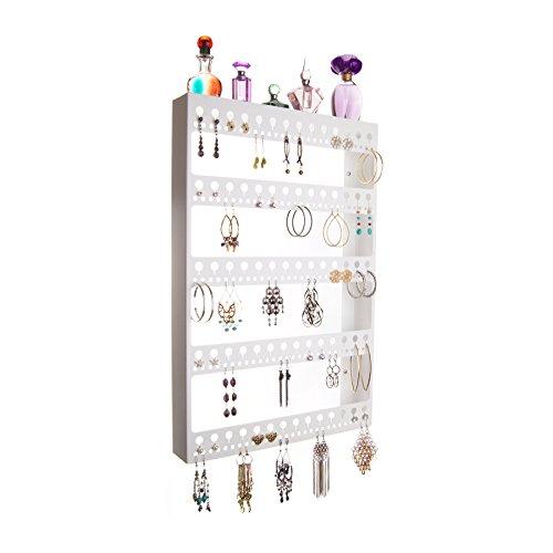 Wall Earring Holder Organizer Jewelry Storage Rack Closet Organizer w/Perfume Tray (Nichole White) (White Earring Rack compare prices)