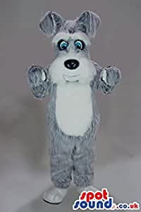 Amazon com hairy grey and white dog plush spotsound us mascot costume