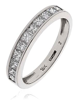 0.75CT Certified G/VS2 Princess Cut Channel Set Half Eternity Diamond Ring in 18K White Gold