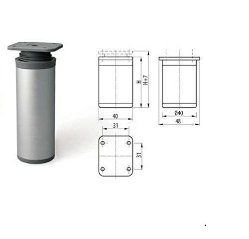 GTV Füße für Möbel / Sofa / Schrank, Aluminium, rund, 150 m