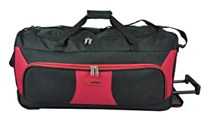 5 Cities 33 Extra Large Black And Red Ripstop Material Wheeled Holdall Trolley Bag Only 325kg And 115l Capacity