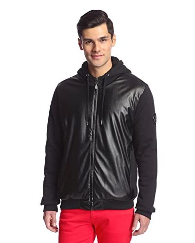 Versace Jeans Men's Zip Hoodie with Faux Leather