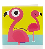 Bright Flamingo Birthday Card for Kids