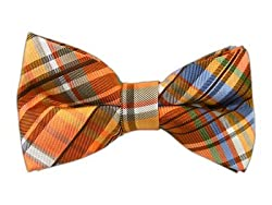 100% Silk Woven Orange Wild Plaid Self-Tie Bow Tie