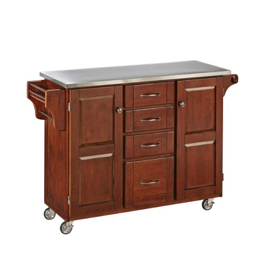 Home Styles 9100-1072 Create-a-Cart 9100 Series Cabinet Kitchen Cart with Stainless Steel Top, Medium Cherry Finish