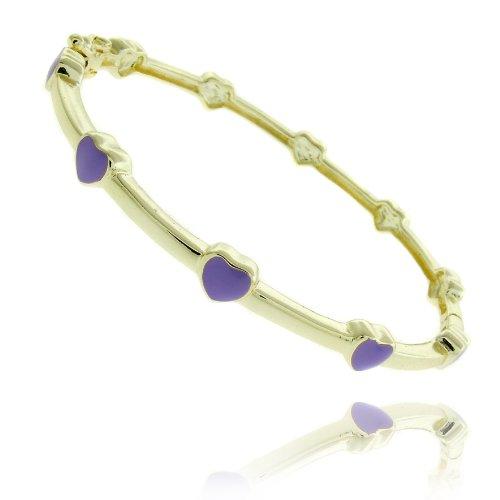 Lily Nily 18k Gold Overlay Lavender Enamel Heart Design Children's Bangle