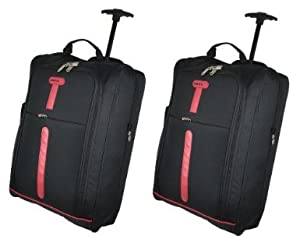 Cities Set Of 2 Cabin Size 21 Ripstop Material Wheeled Holdall Trolley Bag Only 140kg And 42l Capacity - Blackred