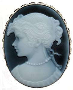 Goddess Iris Cameo Pin Pendant Italian Handcrafted Genuine Agate Stone