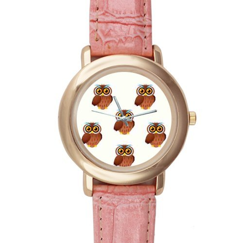 Cute Bird&Owl Background Printed High-Grade Alloy Watch With Pink Leather Watchband For Women And Girl Use