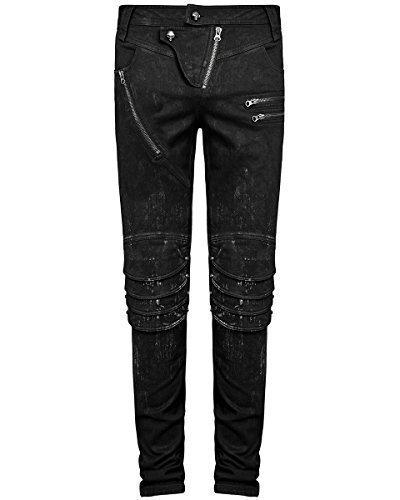 Punk Rave Mens Dieselpunk Jeans pantaloni nero Goth Punk Armatura ginocchio pantaloni Black XX-Large