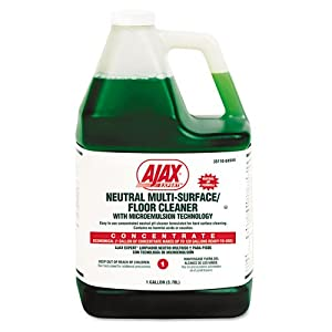 Ajax Products - Ajax - Expert Neutral Multi-Surface/Floor Cleaner, Citrus, 1 gal. Bottle - Sold As 1 Each - Patented formula utilizes microemulsion technology. - Can be used on hard, washable surfaces. - Neutral pH means the cleaner is safe for both surfaces and users. - Leaves no alkaline residue; contains no harmful acids or caustics. - Gallon bottle makes 64 gallons of RTU solution.