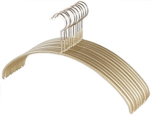 MAWA すべり落ちないマワハンガー カットソー アンサンブル用 人体ハンガー Mサイズ 10本組 ゴールド