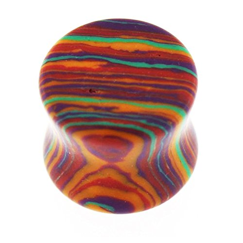2 Gauge - 6MM Colorful Rainbow Stripe Marble on Stone Double Flared Saddle Ear Plug (Cool Gauges compare prices)