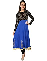 Ira Soleil Blue & Black Block Printed Viscose Knitted Stretchable Long Net Sleeves Anarkali Women's Kurti