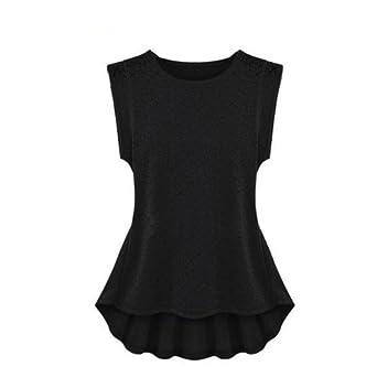 411658f7088 FINEJO Finejo Women s Lace Peplum Frill Bodycon Tank Tops Blouse T-shirt