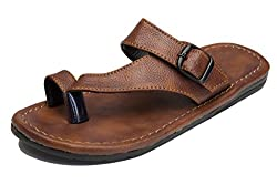 Butchi Brown Synthetic Leather Slippers