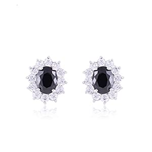 TRUSUPER Wedding Jewelry White Gold Plated Black Color Oval Cut Cubic Zirconia Stud Earrings