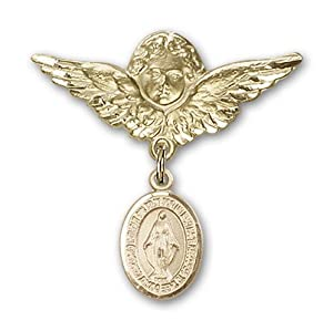 14K Gold Baby Badge with Miraculous Charm and Angel with Wings Badge Pin