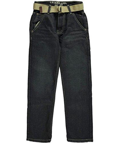 U.S. Polo Assn. Big Boys' 5 Pocket Denim Jeans With Belt, Berkeley Wash, 16