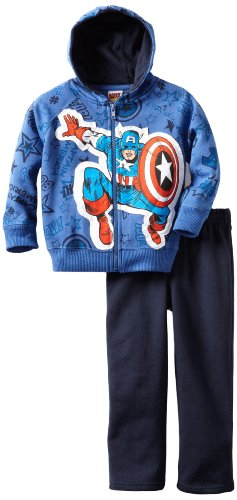 Marvel Little Boys' 2 Piece Captain America Fleece Pant Set