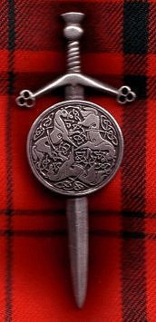 Sword and Targe, Celtic Horses Kilt Pin