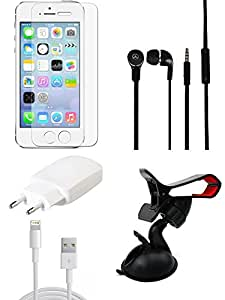 NIROSHA Cover Case Car Charger Headphone USB Cable for Apple iPhone 5 - Combo