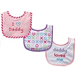 Luvable Friends I Love Mommy and Daddy Baby Bibs, Pink Daddy, 3-Count