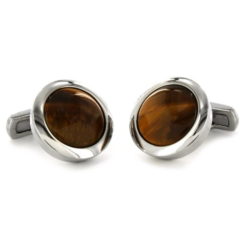 Stainless Steel Tiger's Eye Inlay Cuff Links