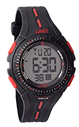 Limit Boys Round Black Plastic Digital Watch 5391.56 With Black Bezel And Red/White Markers