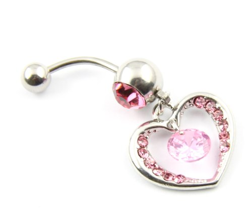 316L Surgical Steel 14G Hollow Heart Hanging CZ Pink Sparking Dangle Navel Belly Ring Bar Barbell Button