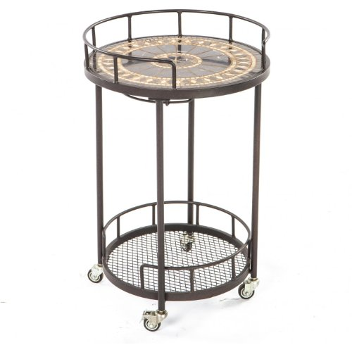 Alfresco Home 21-1311 Gibraltar Indoor Outdoor Marble Mosaic Serving Cart