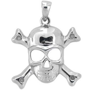 Inox Jewelry 316L Stainless Steel Skull and Crossbones Pendant